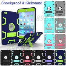 Shockproof Heavy Duty Soft Silicone Hard PC Hybrid Skin Kickstand Case For iPad