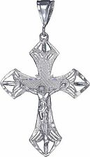 Sterling Silver Cross with Jesus Pendant Necklace 9 Grams 2.95 Inches