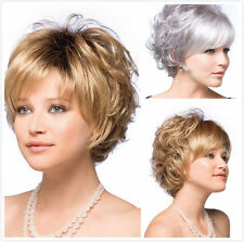 Womens Ladies Heat Resistant Short Curly Wig Silver gray Natural Hair Full wigs