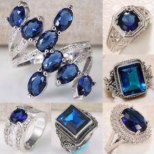 Huge Sapphire Cocktail Women Man 925 Silver Vintage Wedding Party Ring Size 6-10