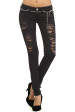 Nice Clash stretch Jeans pants distressed/destroyed In White / Black &blue jeans