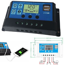 LCD Solar Panel Battery Regulator Charge Controller Dual USB 10/20/30A 12V/24V