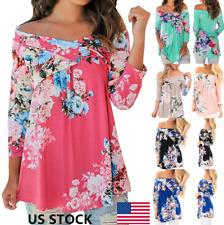 US Women Off Shoulder Cross Floral 3/4 Sleeve Strapless Blouse Loose Tops Shirts