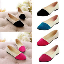 Women Ladies Casual Suede Slip On Pointed Toe Shoes Flats Oxfords Pumps Shoes