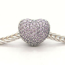 Genuine Authentic S925 Sterling Silver Open My Heart Pink CZ Pave Clip Charm