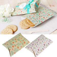 12pcs Pillow Retro Flower Party Paper Box Wedding Favor Gift Sweet Biscuit Boxes