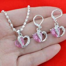 925 Silver Pink Sapphire Heart Pendant Jewelry  Women Necklace and Earrings Sets