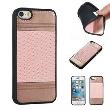 Phone Cases Plating Button Weaved Pattern Back covers Soft TPU+Faux Leather