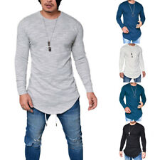 Men Boys Slim Fitted Crew Neck Long Sleeve Solid T-shirt Tees Tops Shirt Blouse