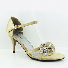 WOMENS LADIES STRAPPY BRIDE WEDDING MID HIGH HEEL COURT SHOES SANDALS SIZE 3-8