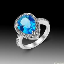 Charm Woman Jewelry Gift Blue Topaz 925 Sterling Silver Gemstone Ring size 7 8 9