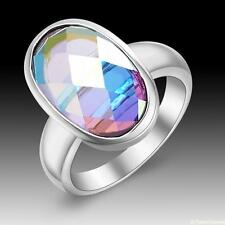 New Woman Jewelry Simple Oval Rainbow Topaz 925 Sterling Silver Ring size 7 8 9