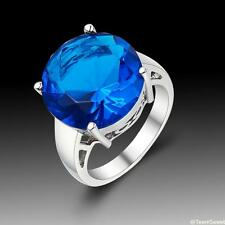 Simple Fashion Jewelry Circular Blue Topaz 925 Sterling Silver Ring size 7 8 9