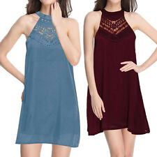 Women Sleeveless Lace Patchwork Chiffon Cocktail Dress Evening Party Mini Dress