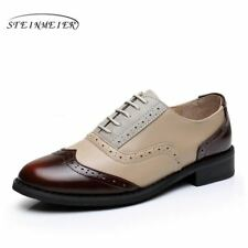 Women Genuine Leather Oxford Shoes Round Toe Handmade Creepers