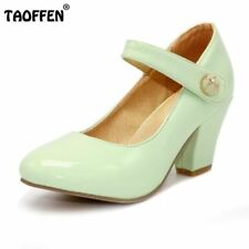 Lady High Heels Pumps Round Toe Patent Leather Thick 8 Colors