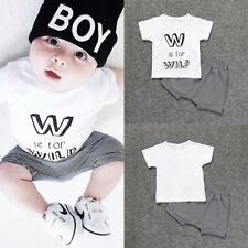 2PCS Baby Boys Kid Summer Short sleeve T-shirt + Striped Shorts Clothes Outfits