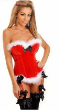 Women Party Dress Sexy Santa Claus Costume Corset Top Hot Lingerie Clubwear