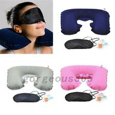 Pink 3in1 Travel Suit Sleeping Inflatable Neck Air Pillow Eye Mask Ear Plug Set
