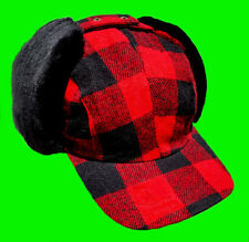 """Winter """"Fudd""""  Hat - Cap With Dog Ear-Flaps Red-Black Wool Buffalo Plaid Check"""