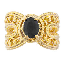 14Kt Yellow Gold Plated Genuine Black Onyx Oval Cocktail Design Ring