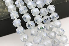 Matte Lt Blue Coating Color Crystal Glass Faceted Pointed Round Loose Beads