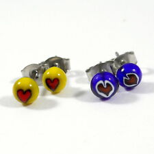 Tiny Heart Stud Earrings, Surgical Steel, Fused Glass, Blue Yellow Red White