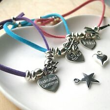 Childs Personalised Suede & Sterling Silver Charm Bracelet Any Message Gift Idea