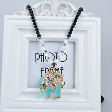 Fashion Lucky Elephant Pendant Necklace Beads Chain Long Necklace Sweater Chain