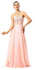 Long Sweetheart Beading High Waist Bridesmaid Chiffon Prom Dresses Evening Gowns
