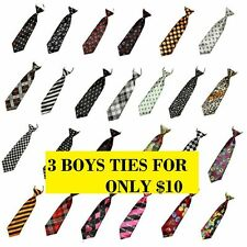 3 BOYS TIES PACK Pattern Elastic Neck Tie Wedding School Party - ONLY $10 FOR 3!