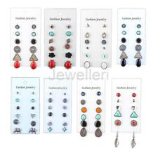 6 Pairs Fashion Women Lady Crystal Vintage Style Round Love Stud Earrings
