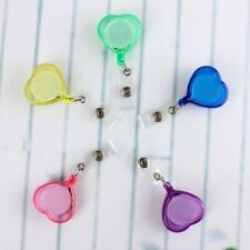 Heart-shape Retractable Badge Lanyard Tag Office Key Card Holder Reel with Clip