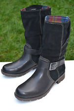 Clarks Ladies Mid-Calf Bikers Boots National Spice Black Combi Leather UK 4.5