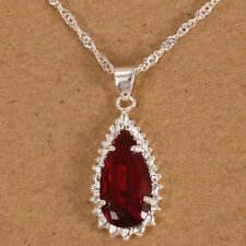 Fashion Men Women Ruby Water Drop 925 Silver Jewelry Necklace Pendant with Chain