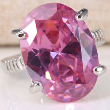 Natural 6CT Pink Sapphire 925 Silver Women Wedding Engagement Ring Size6-10