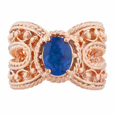 14Kt Rose Gold Plated Blue Sapphire Oval Cocktail Design Ring
