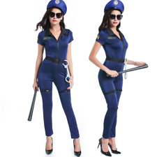 Womens Police Costume Halloween Cosplay Cop Officer Uniform Fancy Dress Outfit