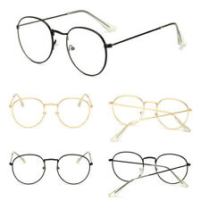 Oval Round Lens Slim Metal Frame Clear lens Fashion Glasses Mens Womens Nerd yu8