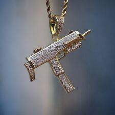 Lab Simulated Diamond 14k Yellow Gold GP Uzi Hand Gun Pendant With Rope Chain