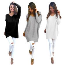 New Womens Pullover Thin Sweater Ladies Loose Tops V-neck Long Sleeve