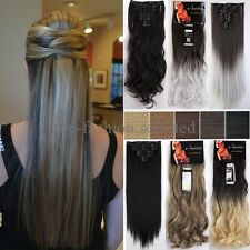 Real Thick 8pcs Clip in Full Head Hair Extensions Long Curly Extension as human