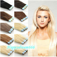 """16"""" 18"""" 20"""" Tape in Skin Weft Remy Human Hair Extensions Indian Hair Straight 7A"""