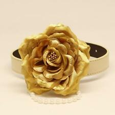 Gold Rose Flower with Pearl Bead Dog Collar Handmade Pet Wedding Accessory