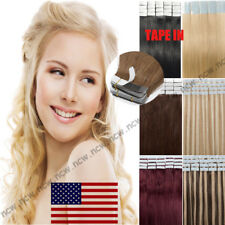 Tape In 60PCS Virgin Human Hair Extensions 100% Real Remy Skin Weft Brazilian US