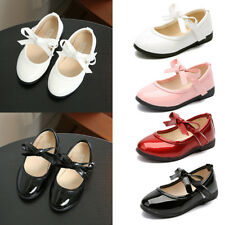Kids Toddler Girls School Flat Shoes Bowknots Princess Wedding Party Dress Shoes