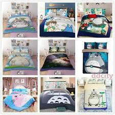 Anime 3D Bedding Set Cat Duvet Cover Set Flat/Fitted Sheet Bed Line Pillowcase A