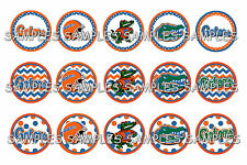 "University Of Florida Gators PRE CUTS or DIGITAL SHEET 1"" Circle Bottle Caps"