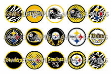 "NFL Pittsburgh Steelers Dots PRE CUTS or DIGITAL SHEET 1"" Circle Bottle Caps"