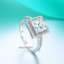 Fine 925 Sterling Silver Princess Cut Engagement Wedding Ring Simulated Diamond